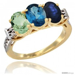 10K Yellow Gold Natural Green Amethyst, London Blue Topaz & Blue Sapphire Ring 3-Stone Oval 7x5 mm Diamond Accent