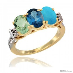 10K Yellow Gold Natural Green Amethyst, London Blue Topaz & Turquoise Ring 3-Stone Oval 7x5 mm Diamond Accent