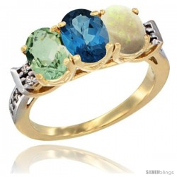 10K Yellow Gold Natural Green Amethyst, London Blue Topaz & Opal Ring 3-Stone Oval 7x5 mm Diamond Accent
