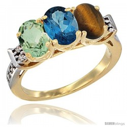 10K Yellow Gold Natural Green Amethyst, London Blue Topaz & Tiger Eye Ring 3-Stone Oval 7x5 mm Diamond Accent