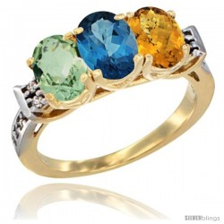 10K Yellow Gold Natural Green Amethyst, London Blue Topaz & Whisky Quartz Ring 3-Stone Oval 7x5 mm Diamond Accent