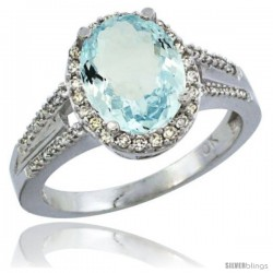 10K White Gold Natural Aquamarine Ring Oval 10x8 Stone Diamond Accent