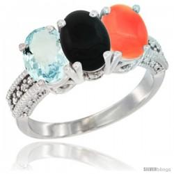 10K White Gold Natural Aquamarine, Black Onyx & Coral Ring 3-Stone Oval 7x5 mm Diamond Accent