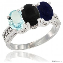 10K White Gold Natural Aquamarine, Black Onyx & Lapis Ring 3-Stone Oval 7x5 mm Diamond Accent