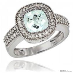 10K White Gold Natural Aquamarine Ring Cushion-cut 8x8 Stone Diamond Accent