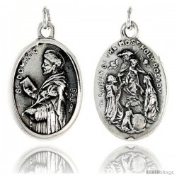 "Sterling Silver St. Dominic and Queen of the Most Holy Rosary Medal Pendant 15/16"" X 5/8"" (24 mm X 16 mm)."