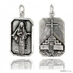 "Sterling Silver St. Mary Medal Pendant 3/4"" X 1/2"" (19 mm X 13 mm)"