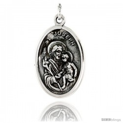 "Sterling Silver St. Joseph Medal Pendant 15/16"" X 5/8"" (24 mm X 16 mm)."