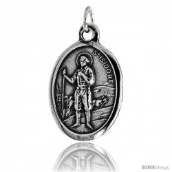 "Sterling Silver St. Isidore The Farmer Oval-shaped Medal Pendant, 7/8"" (23 mm) tall"