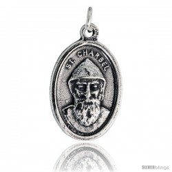 "Sterling Silver St. Charbel The Wonderworker Oval-shaped Medal Pendant, 7/8"" (23 mm) tall"