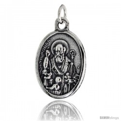 "Sterling Silver St. Nicholas The Wonderworker (Santa Claus) Oval-shaped Medal Pendant, 7/8"" (23 mm) tall"