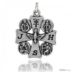 "Sterling Silver ""The Blessed Trinity"" Cross Pendant, 1"" (25 mm) tall"