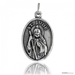"Sterling Silver St. Jude of Thaddeus Oval-shaped Medal Pendant, 7/8"" (23 mm) tall"