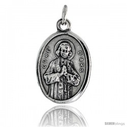 "Sterling Silver Saint Jean Baptiste Marie Vianney Oval-shaped Medal Pendant, 7/8"" (23 mm) tall"