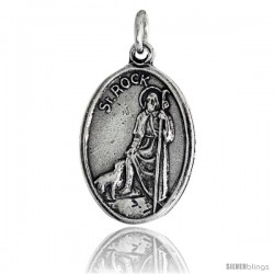 "Sterling Silver St. Rock (St. Roch) Oval-shaped Medal Pendant, 7/8"" (23 mm) tall"