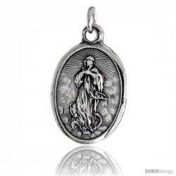 "Sterling Silver Guardian Angel Oval-shaped Medal Pendant, 7/8"" (23 mm) tall"