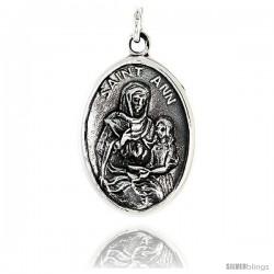 "Sterling Silver Saint Ann Medal Pendant 15/16"" X 5/8"" (24 mm X 16 mm)."