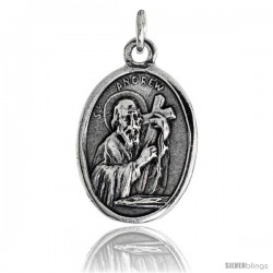 "Sterling Silver St. Andrew Carrying a Cross Oval-shaped Medal Pendant, 7/8"" (23 mm) tall"