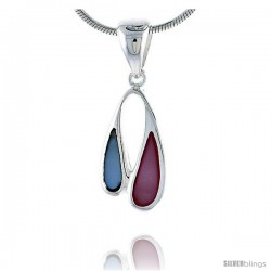 "Sterling Silver Freeform Pink & Blue Mother of Pearl Inlay Pendant, 1 1/16"" (27 mm) tall"