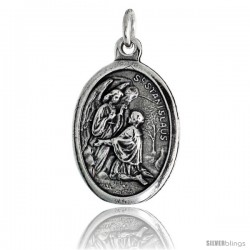 "Sterling Silver St. Stanislaus Szczepanowski The Martyr Oval-shaped Medal Pendant, 7/8"" (23 mm) tall"