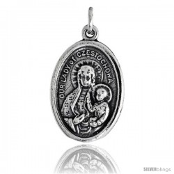 "Sterling Silver Our Lady of Czestochowa / Joannes Paulus II Oval-shaped Medal Pendant, 7/8"" (23 mm) tall"