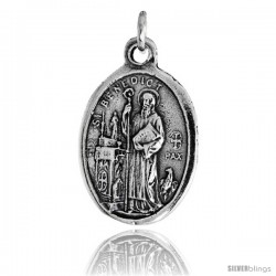 "Sterling Silver St. Benedict of Nursia (San Benedetto de Norcia) Oval-shaped Medal Pendant, 7/8"" (23 mm) tall"