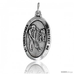 "Sterling Silver St. Christopher Oval-shaped Golf Medal Pendant, 15/16"" (24 mm) tall"