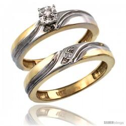 14k Gold 2-Pc Diamond Engagement Ring Set w/ 0.043 Carat Brilliant Cut Diamonds, 5/32 in. (4mm) wide