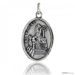 "Sterling Silver St. Blaise The Holy Helper Oval-shaped Medal Pendant, 7/8"" (23 mm) tall"