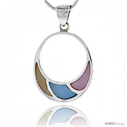 "Sterling Silver Circle Pink, Blue & Light Yellow Mother of Pearl Inlay Pendant, 15/16"" (24 mm) tall"