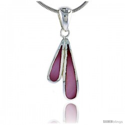 "Sterling Silver Teardrop Pink Mother of Pearl Inlay Pendant, 13/16"" (21 mm) tall"