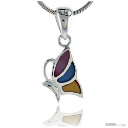 "Sterling Silver Half Butterfly Pink, Blue & Light Yellow Mother of Pearl Inlay Pendant, 9/16"" (14 mm) tall"