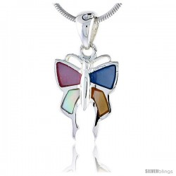 "Sterling Silver Butterfly Pink, Blue, Light Yellow & White Mother of Pearl Inlay Pendant, 5/8"" (16 mm) tall"
