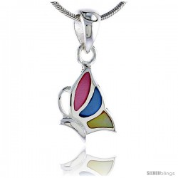 "Sterling Silver Half Butterfly Pink, Blue & Light Yellow Mother of Pearl Inlay Pendant, 9/16"" (14 mm) tall -Style Pshl22"