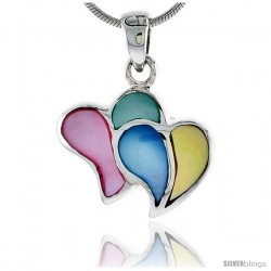 "Sterling Silver Double Heart Pink, Blue, Green & Light Yellow Mother of Pearl Inlay Pendant, 11/16"" (17 mm) tall"