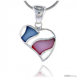 "Sterling Silver Heart Pink & Blue Mother of Pearl Inlay Pendant, 5/8"" (16 mm) tall"