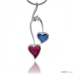 "Sterling Silver Double Heart Pink & Blue Mother of Pearl Inlay Pendant, 1 7/16"" (36 mm) tall"