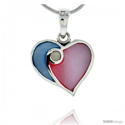 "Sterling Silver Heart Pink & Blue Mother of Pearl Inlay Pendant, 11/16"" (17 mm) tall"