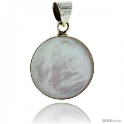 "Sterling Silver Round Mother of Pearl Inlay Pendant, 3/4"" (20 mm) tall"