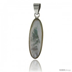 "Sterling Silver Oval Mother of Pearl Inlay Pendant, 1 1/8"" (28 mm) tall"