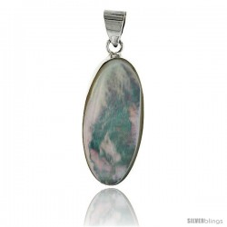 "Sterling Silver Oval Mother of Pearl Inlay Pendant, 1 3/16"" (30 mm) tall"