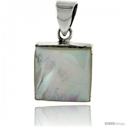 "Sterling Silver Square Mother of Pearl Inlay Pendant, 9/16"" (15 mm) tall"
