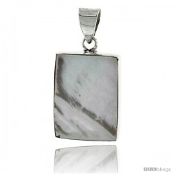 "Sterling Silver Rectangular Mother of Pearl Inlay Pendant, 7/8"" (22 mm) tall"