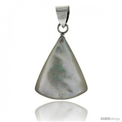 "Sterling Silver Triangular Mother of Pearl Inlay Pendant, 15/16"" (24 mm) tall"