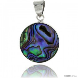 "Sterling Silver Round Abalone Shell Inlay Pendant, 3/4"" (20 mm) tall"