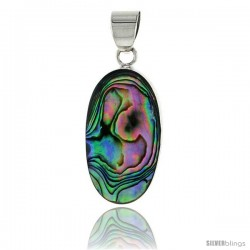 "Sterling Silver Oval Mother of Pearl Inlay Pendant, 1"" (25 mm) tall"