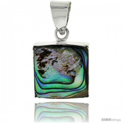 "Sterling Silver Square Abalone Shell Inlay Pendant, 9/16"" (15 mm) tall"