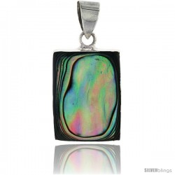 "Sterling Silver Rectangular Abalone Shell Inlay Pendant, 7/8"" (22 mm) tall"