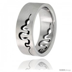 Surgical Steel Snake Ring 8mm Wedding Band