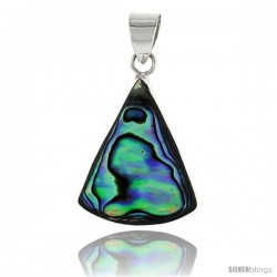 "Sterling Silver Triangular Abalone Shell Inlay Pendant, 15/16"" (24 mm) tall"